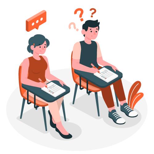 Ilustración muchachos haciendo examen