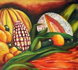 Cuadro bodegón de frutas