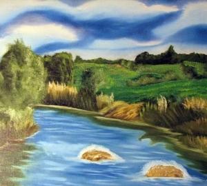 Cuadro paisaje y río
